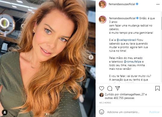 Fernanda Souza radicaliza e aparece com novo visual