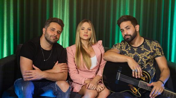 Rick e Nogueira gravam nova música com Gabi Martins - Crédito: Divulgação