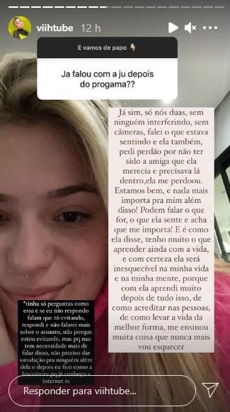 Viih Tube respondendo fãs (Foto: Reprodução/Instagram)