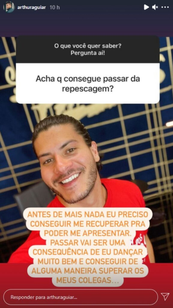 Arthur Aguiar fala sobre a recuperação de lesão. Foto: Reprodução/Instagram