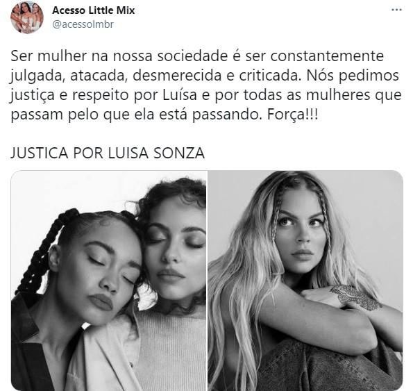 Tuite em apoio a Luísa - Crédito: Reprodução/Twitter