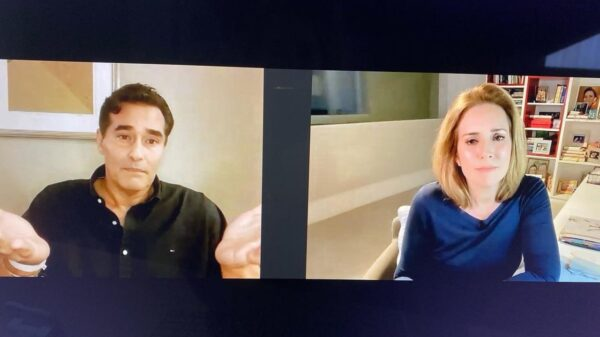 Luciano Szafir conversa com Renata Capucci, do Fantástico