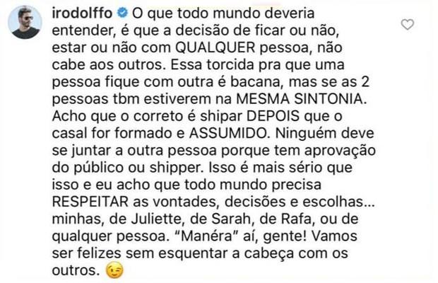 Rodolffo falando sobre ships - Crédito: Reprodução/Instagram