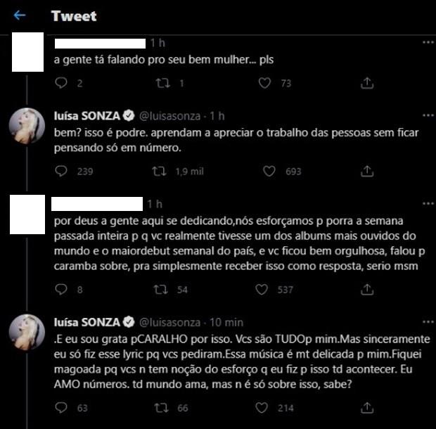 Luísa Sonza rebate críticas - Crédito: Reprodução/ Twitter