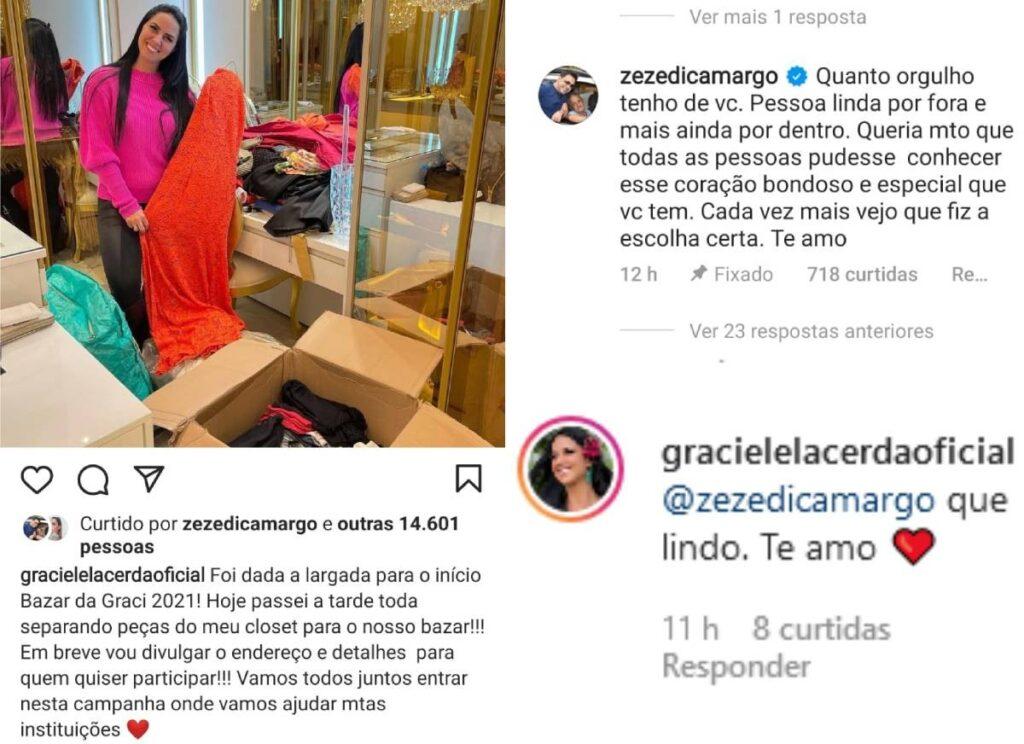 Zezé Di Camargo se declara para Graciele Lacerda - Crédito: Reprodução / Instagram