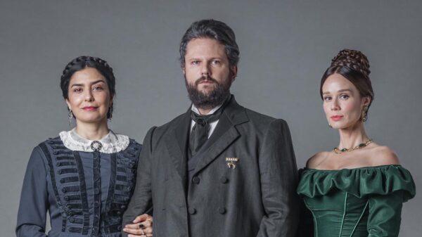 Teresa Cristina, Dom Pedro II e Luísa - Crédito: Globo / Paulo Belote